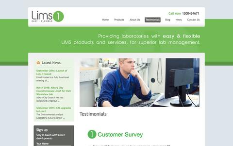Screenshot of Testimonials Page lims1.com - Lims System Testimonial - Lims1 - captured May 19, 2017
