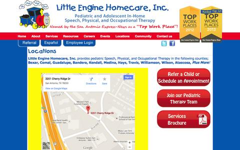 Screenshot of Locations Page littleenginehomecare.com - Locations - LittleEngineLittleEngine - captured Oct. 3, 2014