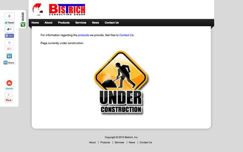 Screenshot of Products Page bistrich.com - Products | Bistrich Inc. - captured Oct. 5, 2014