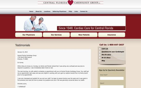 Screenshot of Testimonials Page cfcg.com - Testimonials | Central Florida Cardiology Group - captured Oct. 2, 2014