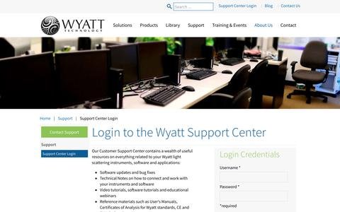 Screenshot of Login Page wyatt.com - Support Center Login - Wyatt  Technology - captured Oct. 25, 2017