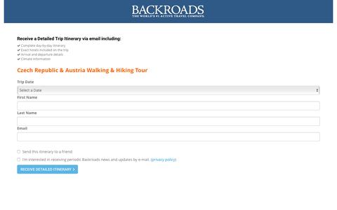 Screenshot of Landing Page backroads.com - MyBackroads - Detailed Itinerary - captured May 20, 2016