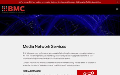 Screenshot of Services Page bmcuk.tv - Media Network Services — BMC UK - Broadcast Media Communications - captured Oct. 11, 2017