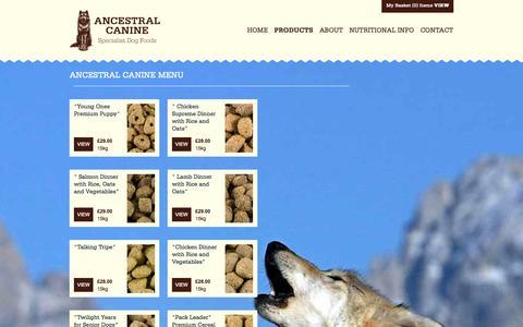 Screenshot of Products Page ancestralcanine.co.uk - Ancestral Canine Menu - captured Sept. 30, 2014