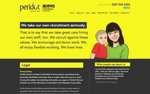 Screenshot of Terms Page peridotpartners.co.uk - Legal - Peridot Peridot - captured Oct. 27, 2014