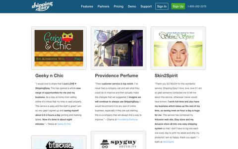 Screenshot of Testimonials Page shippingeasy.com - ShippingEasy Reviews & Testimonials - captured Sept. 17, 2014