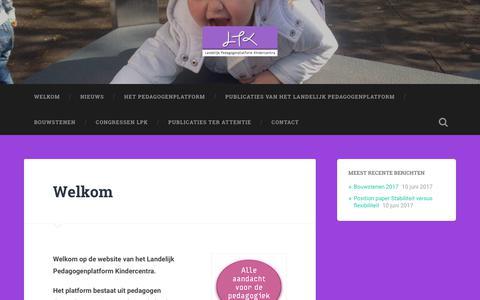 Screenshot of Home Page pedagogenplatform.nl - pedagogenplatform.nl – Website van het Landelijk Pedagogenplatform Kindercentra - captured July 14, 2017