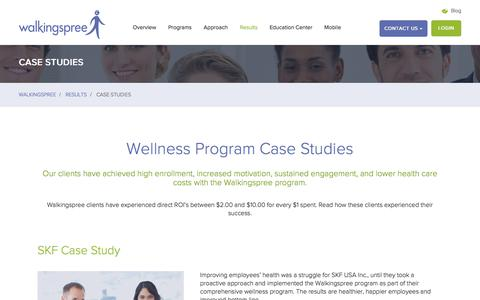 Screenshot of Case Studies Page walkingspree.com - Employee Workplace Wellness Program Results - captured Sept. 20, 2018