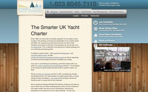 Screenshot of About Page yacht-charter.co.uk - Hamble Point Yacht Charters, Solent Sailing, UK yacht hire, RYA sailing courses, yacht management | Hamble Point Yacht Charters - captured Oct. 1, 2014