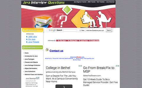 Screenshot of Contact Page interview-questions-java.com - Contact us | Java Interview Questions - captured Oct. 31, 2014