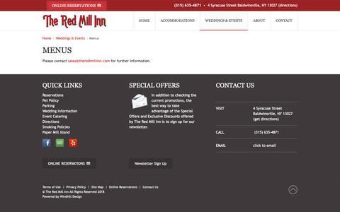 Screenshot of Menu Page theredmillinn.com - Menus | The Red Mill Inn - captured Oct. 31, 2018