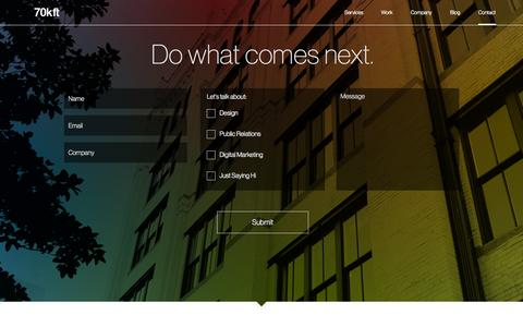 Screenshot of Contact Page 70kft.com - Contact 70kft Dallas Digital Marketing, PR and Design Agency | 70kft - captured Oct. 27, 2014