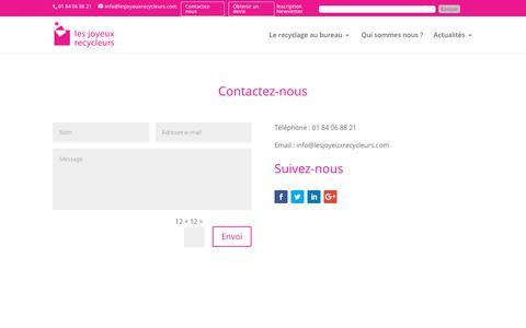 Screenshot of Contact Page lesjoyeuxrecycleurs.com - Devis et solutions pour le recyclage, la collecte et le tri des déchets en entreprise par Les Joyeux Recycleurs - captured Dec. 8, 2018