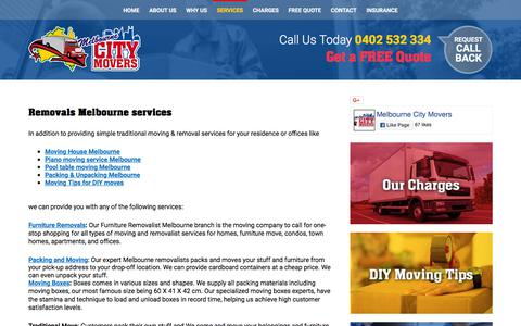 Screenshot of Services Page melbournecitymovers.com.au - Furniture Removals | Moving Boxes | Moving House - captured Sept. 24, 2018