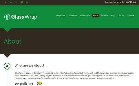 Screenshot of About Page glasswrap.com - About - captured Nov. 29, 2018