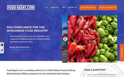 Screenshot of Home Page food-agent.com - Food Agent - FDA Compliance for Worldwide Food Industry - captured June 29, 2018