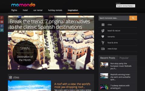 Screenshot of Press Page momondo.com - Travel Blog by momondo | Travel Inspiration & Insider tips - captured Sept. 16, 2014