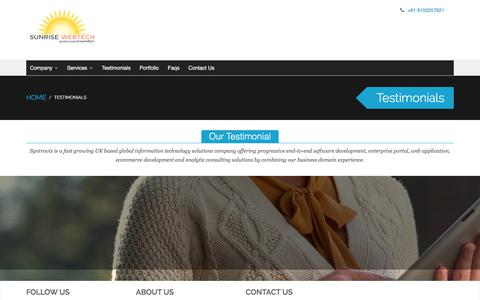 Screenshot of Testimonials Page sunrisewebtech.com - Testimonials - captured Sept. 21, 2018