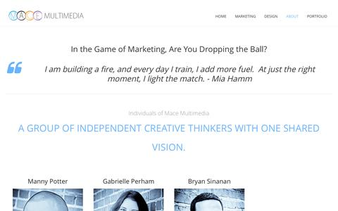 Screenshot of About Page macemultimedia.com - About | Mace Multimedia - captured Sept. 30, 2014