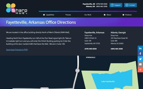 Screenshot of Maps & Directions Page sharphue.com - Fayetteville, Arkansas Office Directions | Sharp Hue - captured Sept. 24, 2018