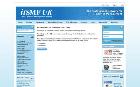 Screenshot of Signup Page site-ym.com - itSMF UK - captured Sept. 18, 2014