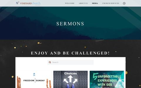 Screenshot of Press Page thevc.org - The Vineyard Church of Hyde Park | Sermons - captured Dec. 16, 2018