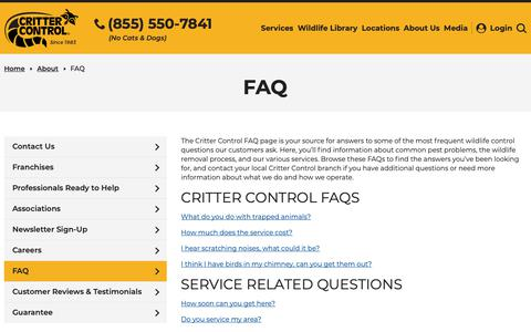 Screenshot of FAQ Page crittercontrol.com - Critter Control Frequently Asked Questions - captured May 6, 2019