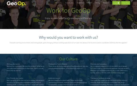 Screenshot of Jobs Page geoop.com - Careers with GeoOp - captured Sept. 12, 2014
