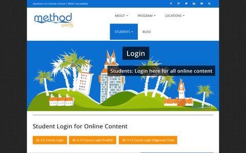 Screenshot of Login Page methodschools.org - Login | - captured Jan. 10, 2016