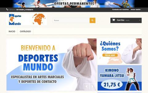 Screenshot of Home Page deportes-mundo.com - DEPORTES MUNDO - Especialistas en ropa para artes marciales y deportes de contacto en Málaga - DEPORTES MUNDO - captured June 3, 2016