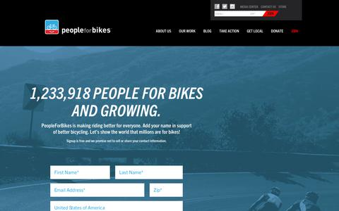 Screenshot of Signup Page peopleforbikes.org - Join PeopleForBikes • PeopleForBikes - captured Sept. 23, 2017