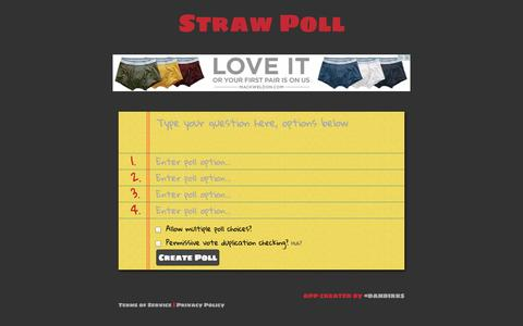 Screenshot of Home Page strawpoll.me - Straw Poll - captured Sept. 18, 2014
