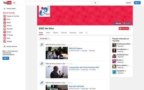 Screenshot of YouTube Page youtube.com - EGIC ibn Sina  - YouTube - captured Oct. 25, 2014