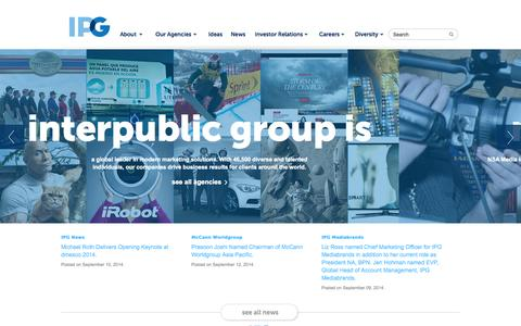 Screenshot of Home Page interpublic.com - Homepage | IPG - captured Sept. 18, 2014