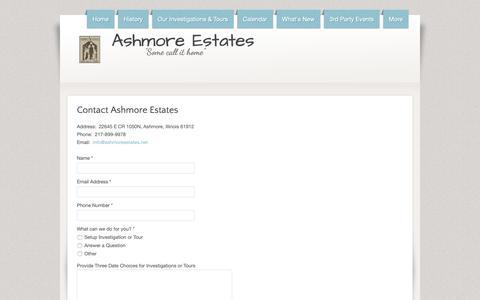 Screenshot of Contact Page hauntedashmoreestates.com - Ashmore Estates - Contact Us - captured Nov. 29, 2018