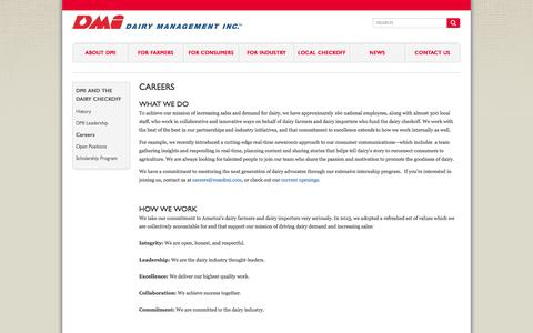 Screenshot of Jobs Page dairy.org - Dairy Management Inc. :: Careers - captured Oct. 5, 2014