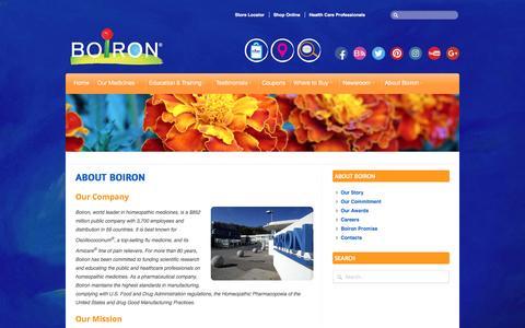 Screenshot of About Page boironusa.com - About Boiron - BOIRON USA - captured Dec. 28, 2016