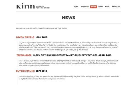 Screenshot of Press Page kinnbikes.com - Kinn Bikes | News - captured Sept. 30, 2014