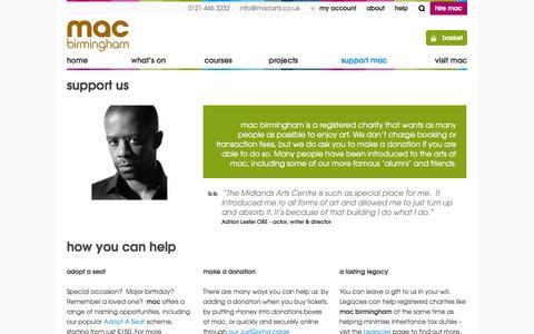 Screenshot of Support Page macbirmingham.co.uk - Support mac | mac birmingham - captured Oct. 27, 2014