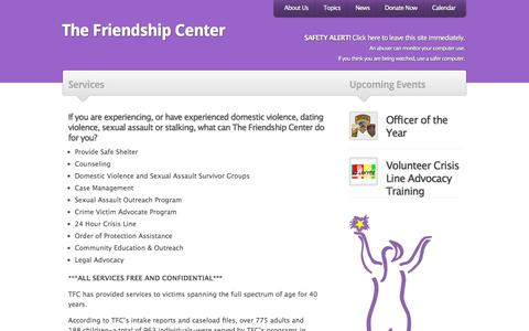 Screenshot of Services Page thefriendshipcenter.org - The Friendship Center |   Services - captured Sept. 21, 2018