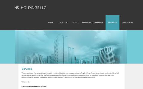 Screenshot of Services Page hsholdingsllc.com - SERVICES - HS Holdings - captured July 13, 2018