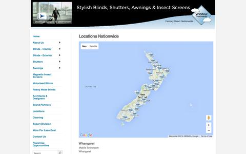 Screenshot of Locations Page window-treatments.co.nz - Locations - captured June 15, 2016