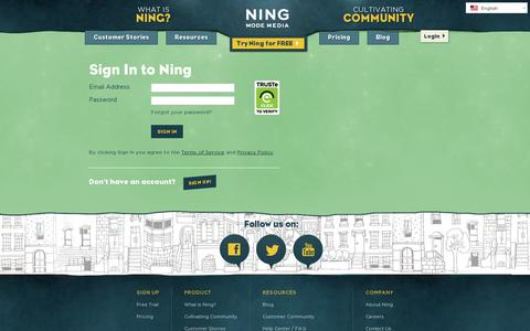 Screenshot of Login Page ning.com - Sign In to Ning | Ning.com - captured July 20, 2014