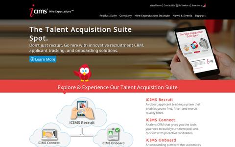 Screenshot of Home Page icims.com - HR Recruiting Application & Applicant Tracking Software by iCIMS - captured July 11, 2014