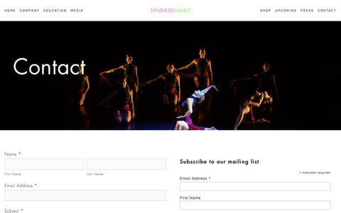Screenshot of Contact Page synthesisdance.org - Contact — Synthesis Dance | Tracie Stanfield | Concert Modern Jazz Dance Company | New York City - captured May 29, 2019