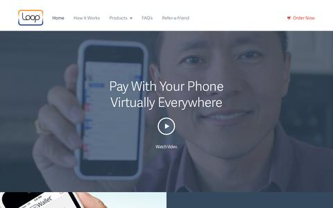 Screenshot of Home Page looppay.com - Pay with your Phone - Faster, Safer, Smarter - captured Sept. 16, 2014