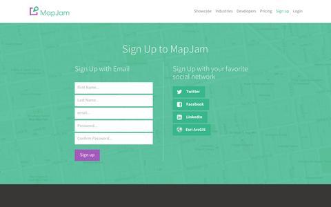 Screenshot of Signup Page mapjam.com - MapJam | Sign up - captured May 5, 2016