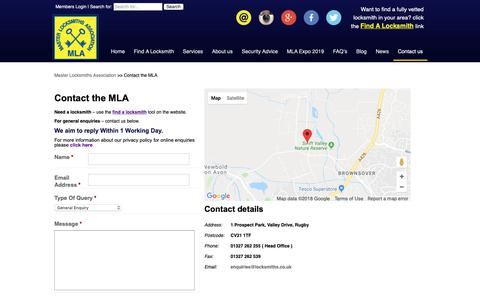 Screenshot of Contact Page locksmiths.co.uk - Contact the MLA | Master Locksmiths Association - captured Oct. 17, 2018