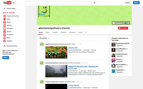 Screenshot of YouTube Page youtube.com - atlantictrampolines's channel  - YouTube - captured Oct. 25, 2014