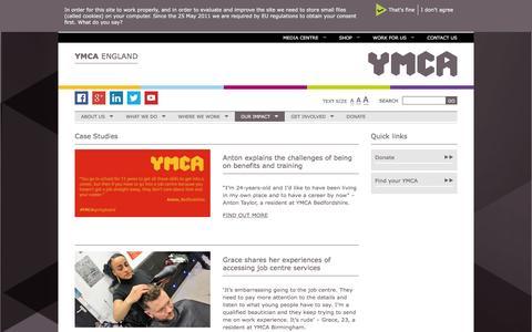 Screenshot of Case Studies Page ymca.org.uk - Case Studies Archives - YMCA England - captured Feb. 3, 2016